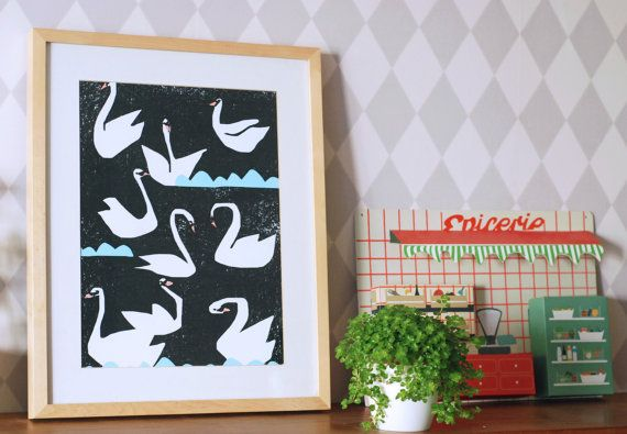Extra large poster Night swans by Ninainvorm on Etsy