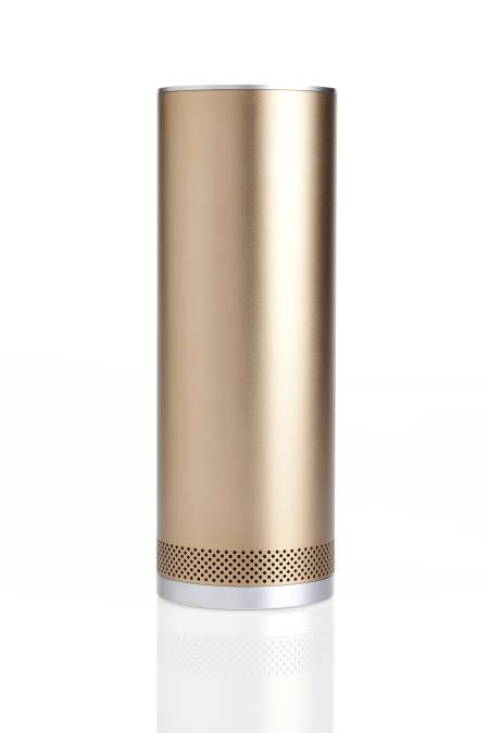 The Peak of Sleek. Love the bold silhouette and sophisticated metallic finish on the sleek Pillar speaker