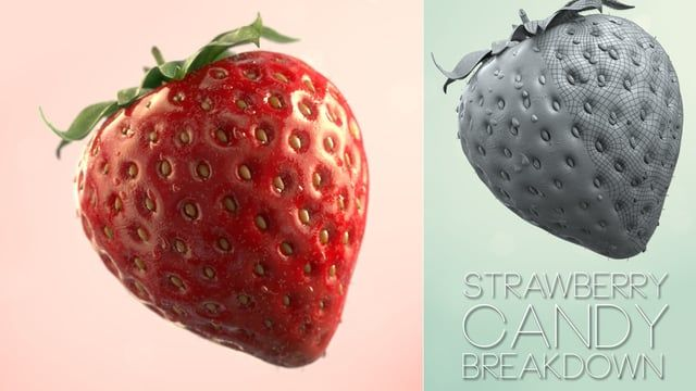 """This is a project I worked on a while ago.  I used Zbrush to sculpt the strawberry trying to match the Fibonacci spiral.  Real flow was used for the High Viscosity Liquid Simulation rising the simulation subframe to avoid """"exploding"""" particles. Rendered in Maya with Solidangle Arnold."""