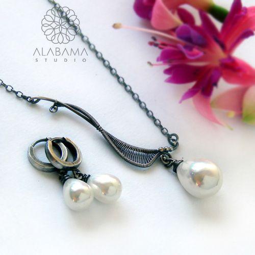ALABAMA - Seashell asymetrycznie - srebrny naszyjnik i kolczyki
