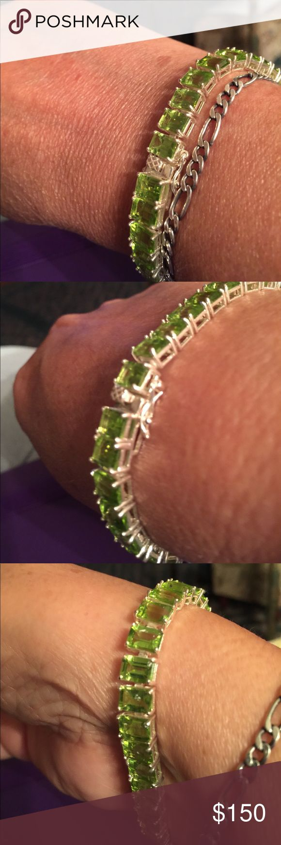 Peridot stamped silver REAL 8 inch with safety latches. Stones about 1 carat each Jewelry Bracelets