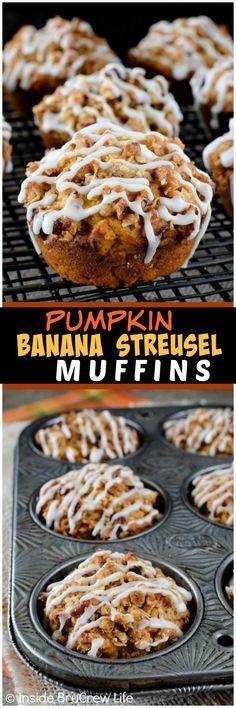 Pumpkin Banana Streusel Muffins - a crunchy topping and sweet glaze makes this soft muffins irresistible. Great breakfast recipe for fall mornings!