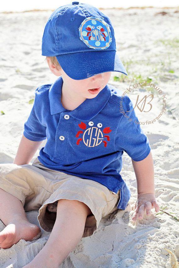 Polo Shirt Monogram Crab: Church Toddler Boy Polo by KenaBows