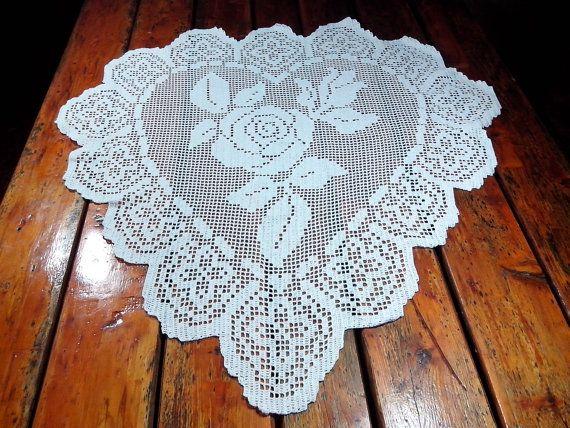 Crochet Large Doily heart  table doily lace home by Handmadesfiopi