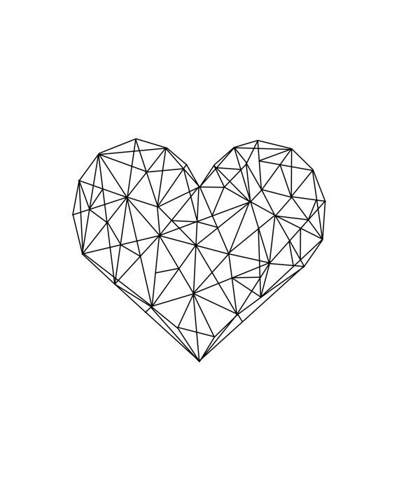 Heart Geometric Geometric Love Minimalist Heart by CHICxBOUTIQ