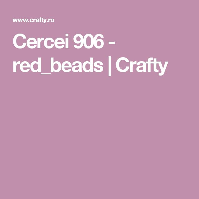 Cercei 906 - red_beads | Crafty