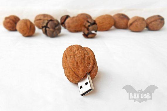BAT™ 16GB USB flash drive - Memory Stick Walnut - Jump drive - Computer gadget - Laptop/Desktop usb - Unique design - Handmade real Walnut - Product Dimensions 5cm Height x 3.2cm Width x 3.4cm Thickness by Think4HandmadeArt