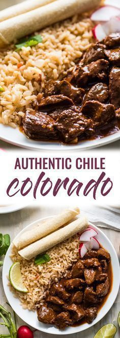 This Chile Colorado recipe combines tender pieces of beef with a rich and flavorful red chile sauce. Serve with rice for an authentic Mexican dinner! | beef stew meat | mexican beef | chili colorado | authentic mexican beef