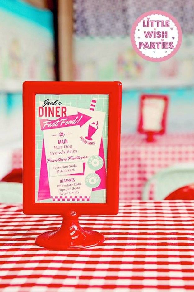 1950's Diner + Rock n Roll themed birthday party via Kara's Party Ideas KarasPartyIdeas.com Cake, decor, printables, favors, food, supplies, and more! #retroparty #retrodiner #1950sparty #vintagedinerparty #vintagediner #rocknroll (9)