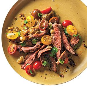 Grilled Skirt Steak and Roasted Tomatillo Sauce - 300-Calorie Dinners - Cooking Light
