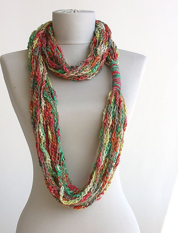 Multicolor sciarpe estive crochet fibra collana da violasboutique