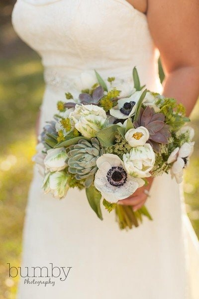 Anemone and succulent #wedding bouquet {Fairbanks Florist}