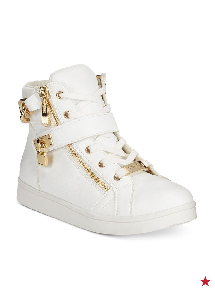 The search for you next favorite sneaker ends here. Meet the Bebe Sport Kandee high tops. The zipper action, that lock strap, those gold-tone accents... consider your shoe game officially upgraded.