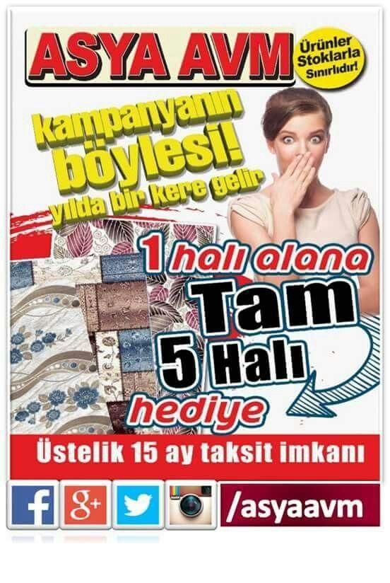 Kampanyanın böylesi yılda bir kere gelir! 1 Halı Alana 5 Halı HEDİYE! Üstelik 15 Ay taksit imkanıyla! #asyaavm #kampanya #1halı5hediye