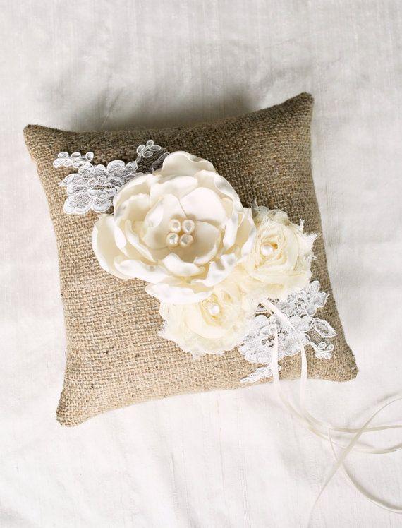Burlap Ring Bearer Pillow Burlap Wedding Ring by weddingsandsuch, $48.00