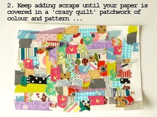 Turn scraps of washi into crazy-quilt style embellishments  [in 5 steps] Photo tutorial by Julie Kirk
