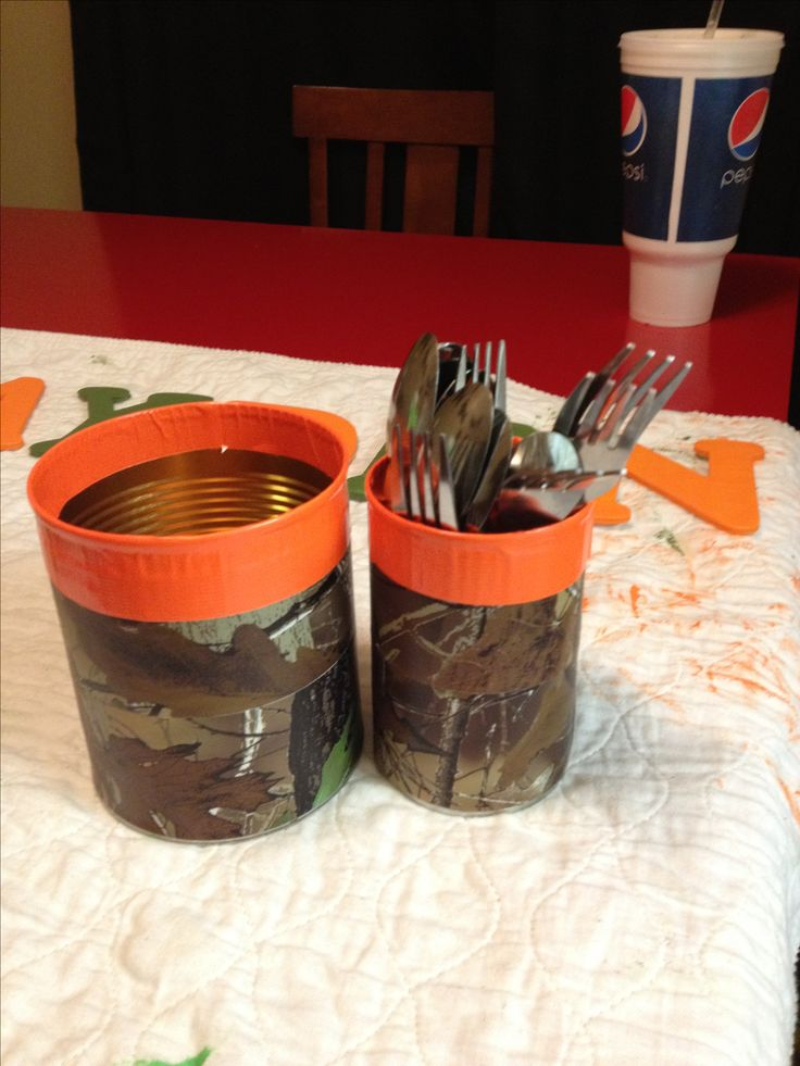 Regular veggie can with duck tape for a hunting themed patry