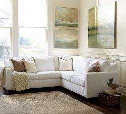 Cameron Upholstered Square Arm L Shaped Sectional With Corner Fabric Color Textured Twill Oatmeal