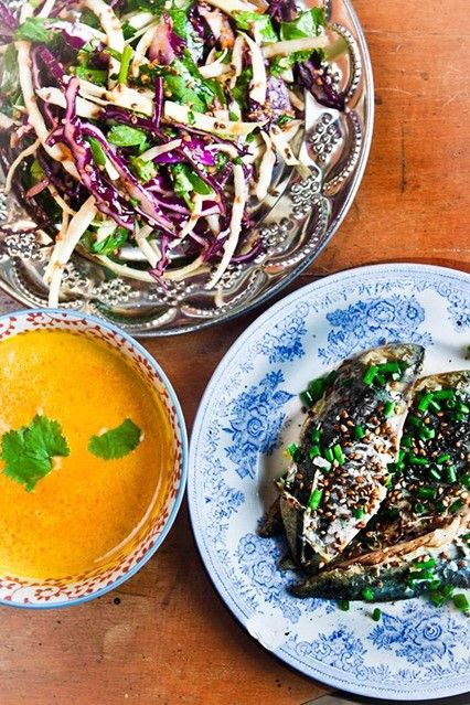 Hemsley & Hemsley Mackerel Salad(fennel, cabbage, cucumber, avocado) With Miso Carrot Dressing