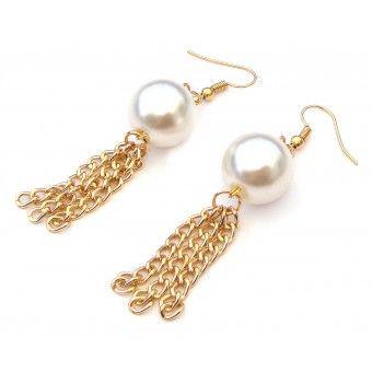 Aretes con Chapa de Oro, Perla y Cadena de Aluminio                                                                                                                                                                                 Más