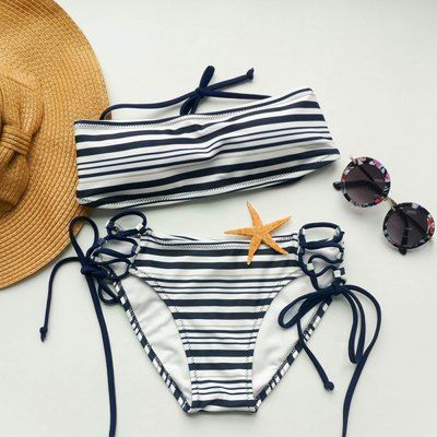 Strappy Tube Top Striped Bikini Set