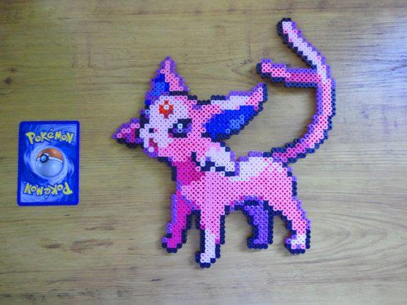 Espeon Pokemon Perler Bead Sprite by PokePerlers on Etsy, $15.00