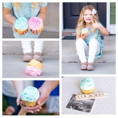 Sibling gender reveal with cupcakes Erin Glausier Photography http://www.eringlausier.