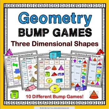 3D Shapes: 3D shapes bump games contains 10 different games to help students practice identifying and classifying 3D shapes.  Within these 3D shapes games, students practice matching the names of 3D shapes to images, real-world images, nets, and to specific characteristics (number of faces, edges, and vertices).These 3D shapes bump games are so simple to use, and take a minimal amount of prep.