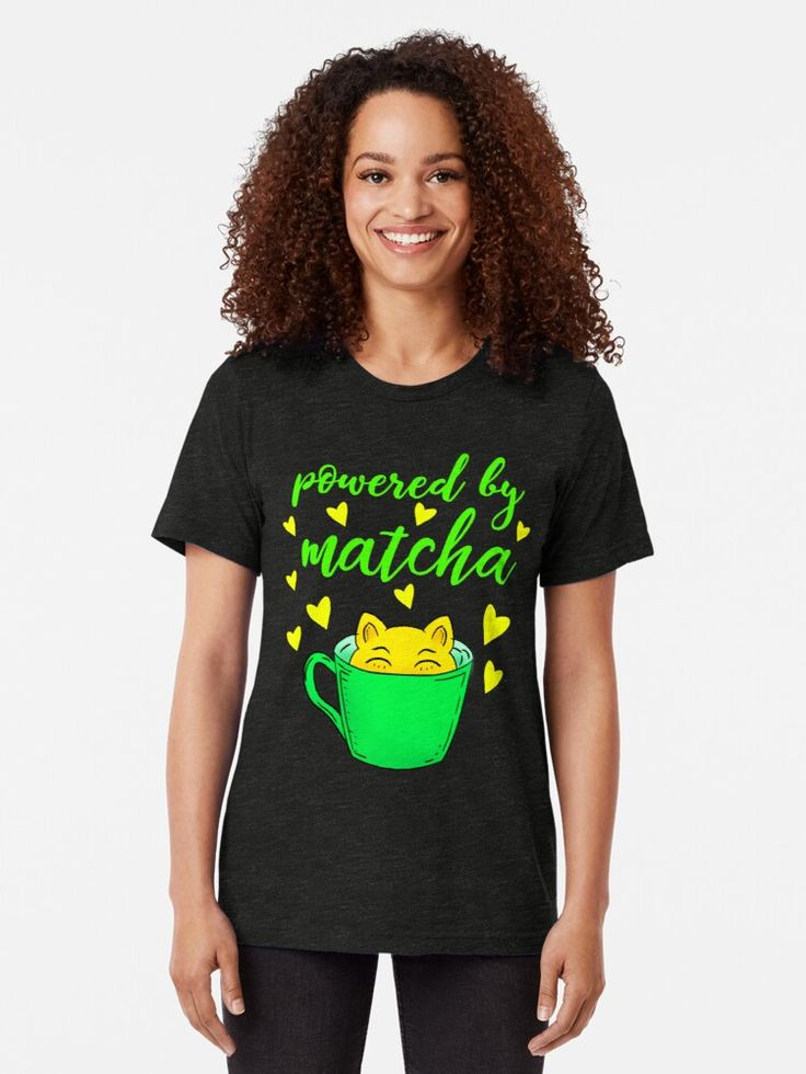 'Powered by matcha. A green cup and a little funny adorable kitten. Gift ideas for matcha latte tea and cat lovers.' T-Shirt by IvyArtistic