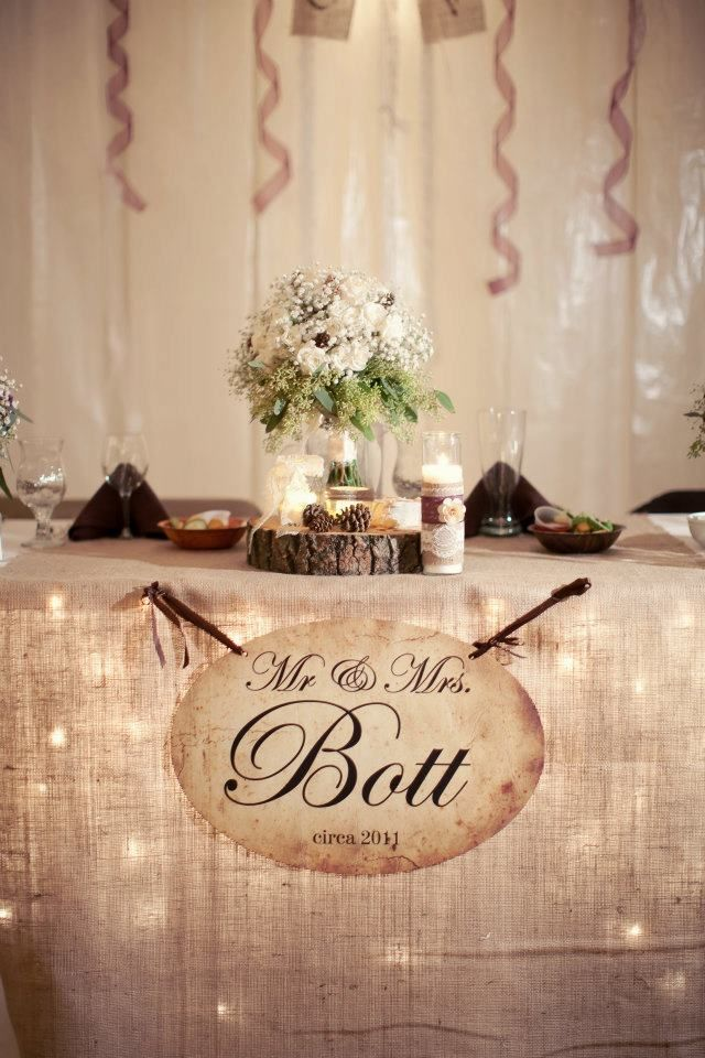 Best 25 rustic head tables ideas on pinterest burlap runners love the sign lights under the table head table weddingwedding reception rustic junglespirit Images