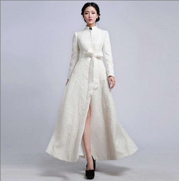 Long White Dress Coat
