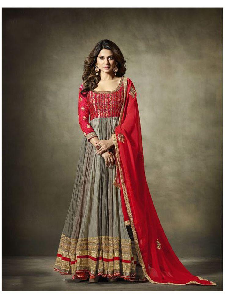 New Indian Designer Wedding Partywear Stani Anarkali Dress Matarial