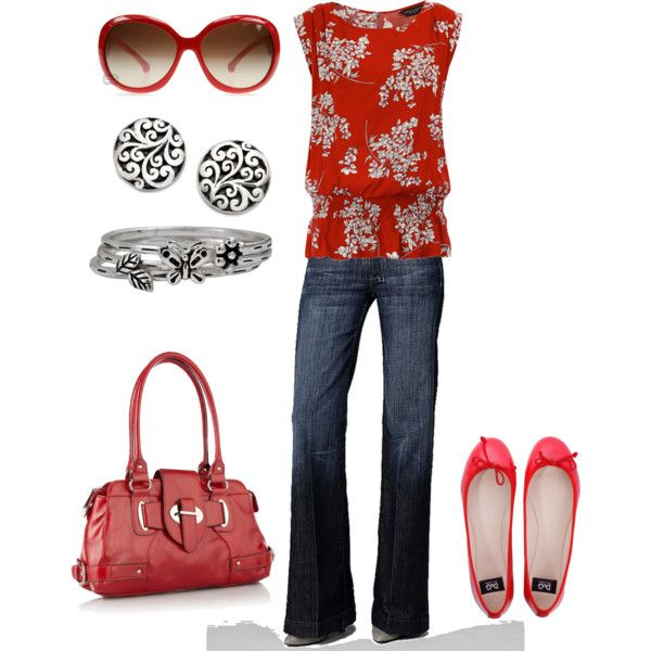 Red!: Red Tops, Floral Tops, Blouses, Summer Outfit, Style, Color, Jeans, Flats, Earrings