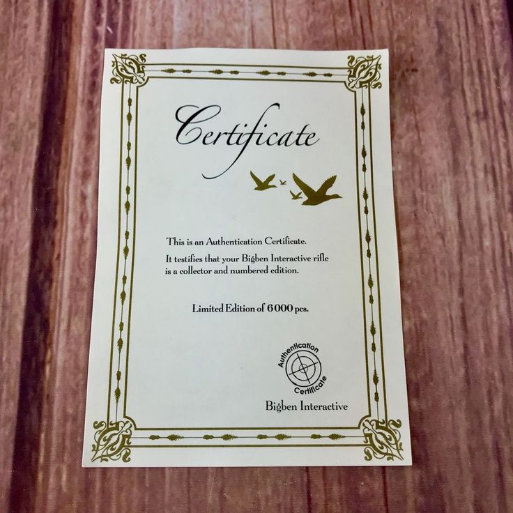 Wii Riffle Certificate Of Authentication Limited Edition Bigben Interactive