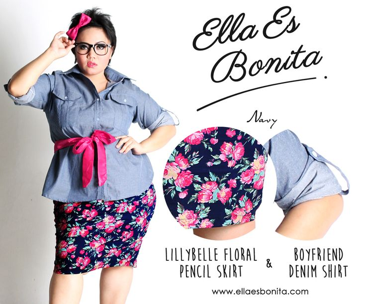 Boyfriend Denim Shirt & Lillybelle Floral Pencil Skirt - This vintage shirt and skirt features high quality chambray denim for shirt and thick stretch cotton for skirt which specially designed for sophisticated curvy women originally made by Indonesian Designer & Local Brand: Ella Es Bonita. Available at www.ellaesbonita.com