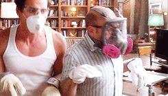 Matt Bomer and Willie Garson channel their inner dinosaurs (White Collar season 5 gag reel). Too funny :)
