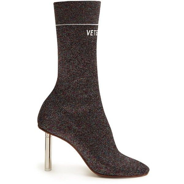 Vetements Lighter-heel sock ankle boots ($1,950) ❤ liked on Polyvore featuring shoes, boots, ankle booties, multi, vetements boots, metallic boots, knit cuff boots, metallic booties and sport boots