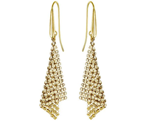 Illuminate yourself in a golden glow with this pair of gold-plated pierced earrings. Each one features a sparkling triangle of golden Crystal Mesh.... Shop now