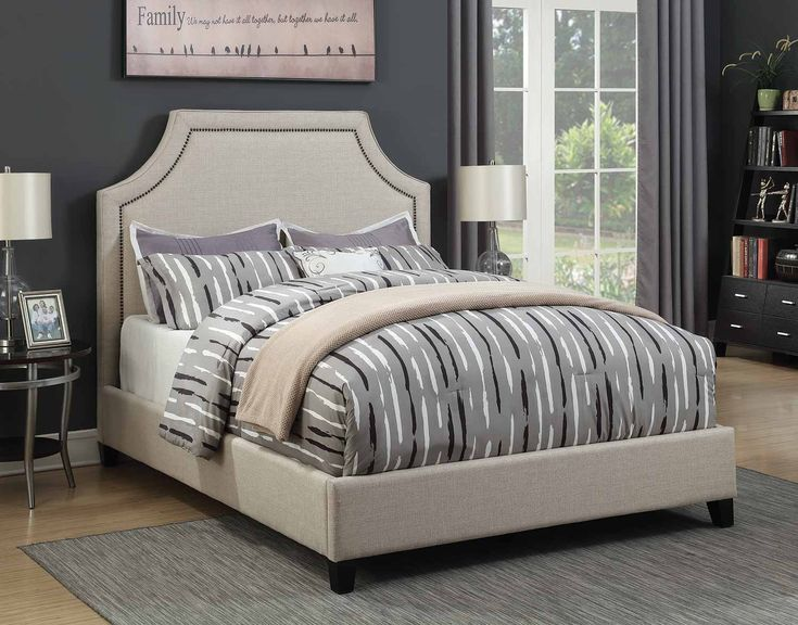 Cantillo Queen Bed upholstered in oatmeal fabric