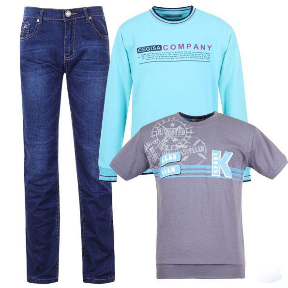 Стильный и практичный образ для мальчика: джинсы цвета индиго, серая футболка и голубой джемпер с принтом. Актуально для любого сезона.