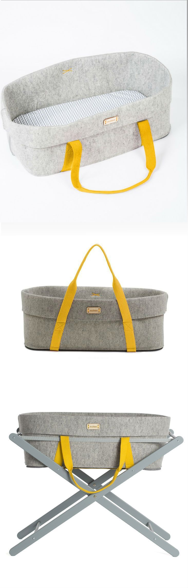 Moses basket by moKee, wool felt bassinet for your nursery #woolnest #nursery #bassinet  | Pinned by www.thebonniemob.com | British designed unisex baby and kids fashion clothing brand for stylish little ones. The bonnie mob ship worldwide from the UK.