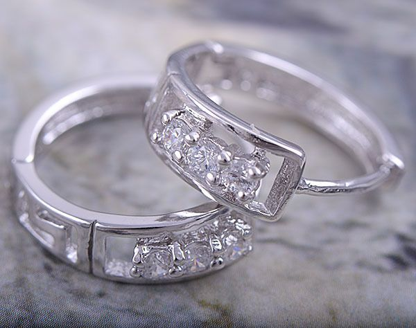 9K white gold-filled hoop earrings with clear CZ, 16mm x 5mm (1)