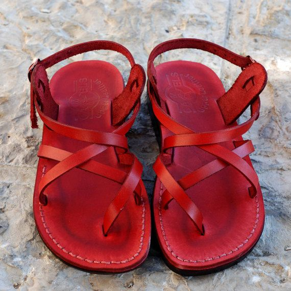 greek sandals for women sandals leather sandals red by Holysouq