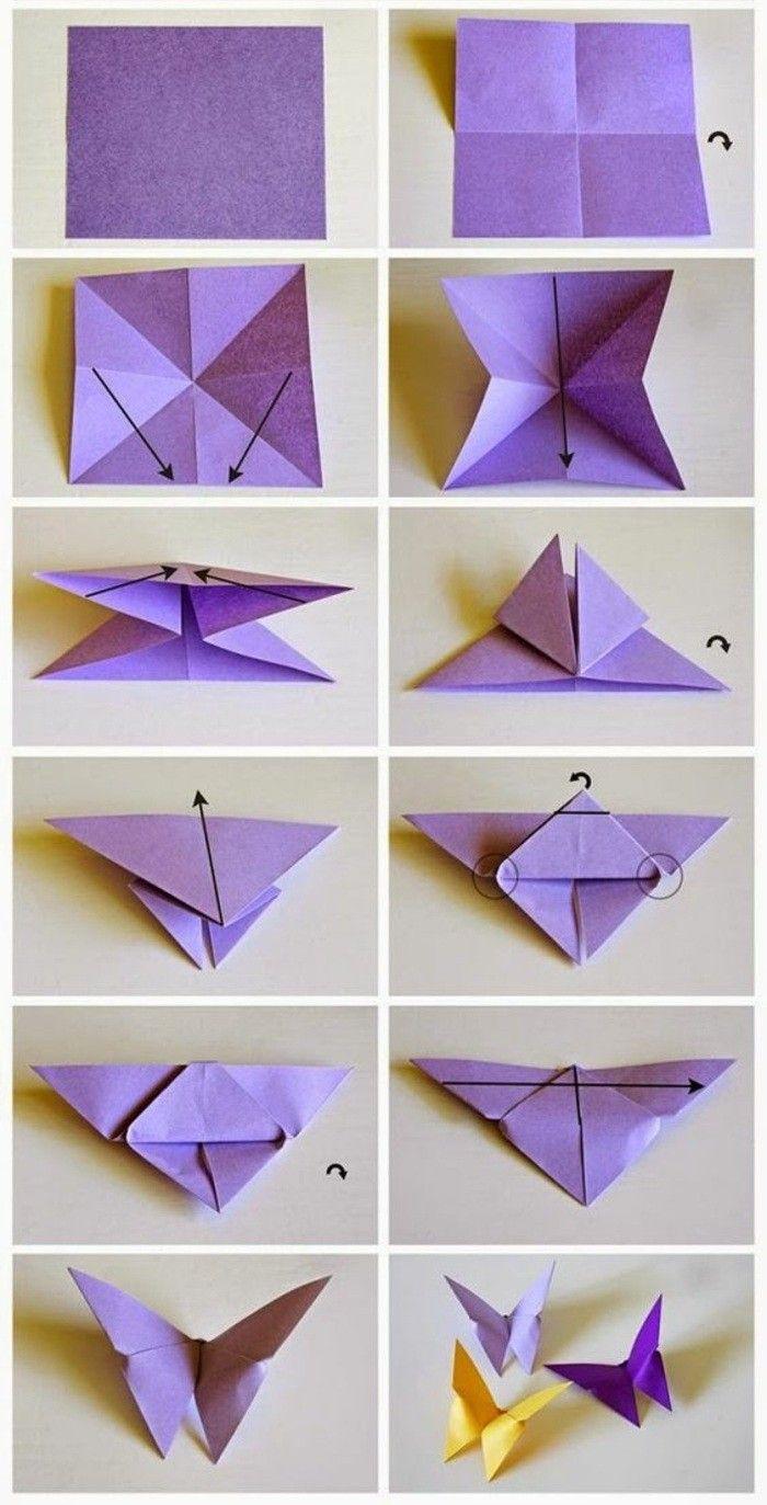17 wanddeko selber machen bastelvorlage schmetterling lila origami schmetterlinge machen