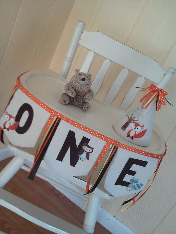 Woodland Creatures 1st Birthday Highchair by TheShabbyCupcake