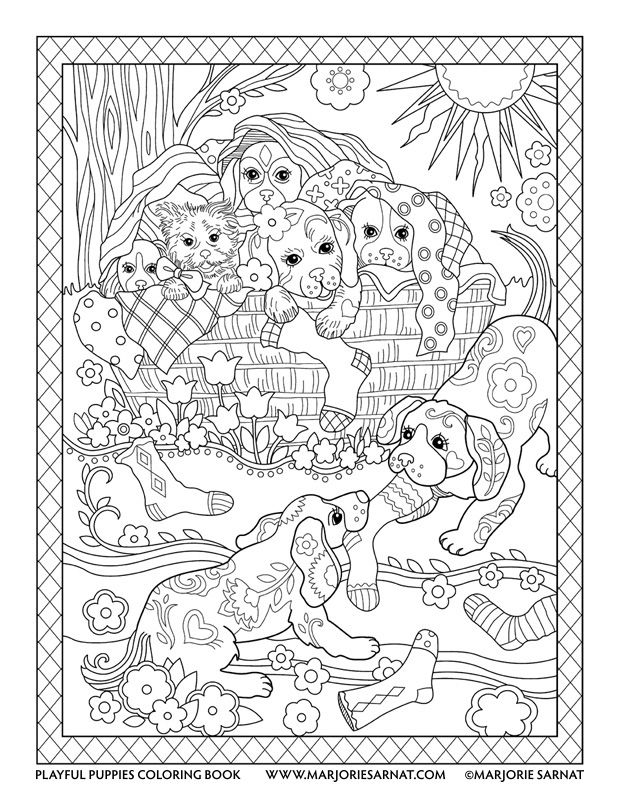 Laundry Basket Playful Puppies Coloring Book By Marjorie