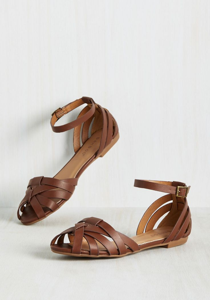 Let the Good the Times Stroll Flat in Chestnut - Brown, Solid, Woven, Casual, Boho, Good, Peep Toe, Brown, Neutral, Flat