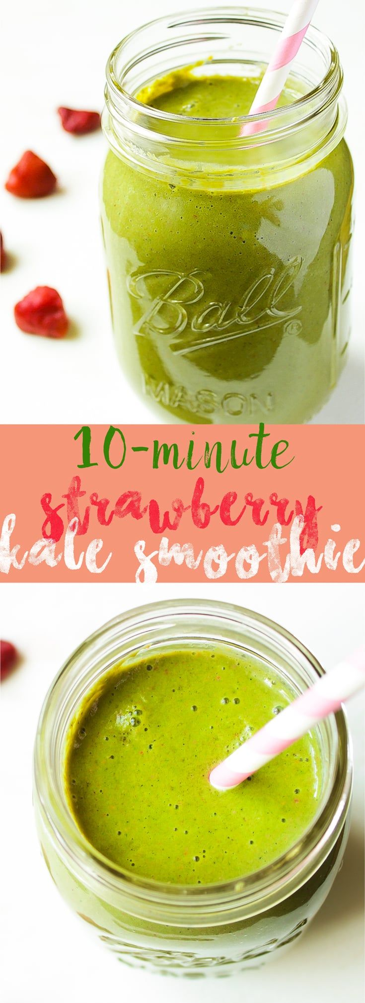 This delicious and super charged nutritious Strawberry & Kale Smoothie is made in 10 minutes and so delicious! via http://jessicainthekitchen.com