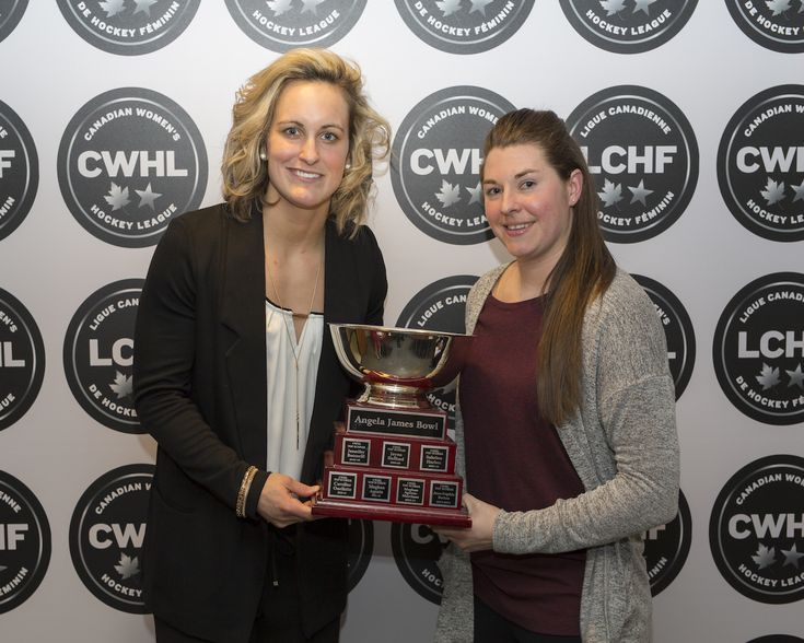 Jess Jones (Brampton Thunder) and Marie-Philip Poulin share the Angela James Bowl as top scorers in  CWHL. 2017-2018 Photo from CWHL
