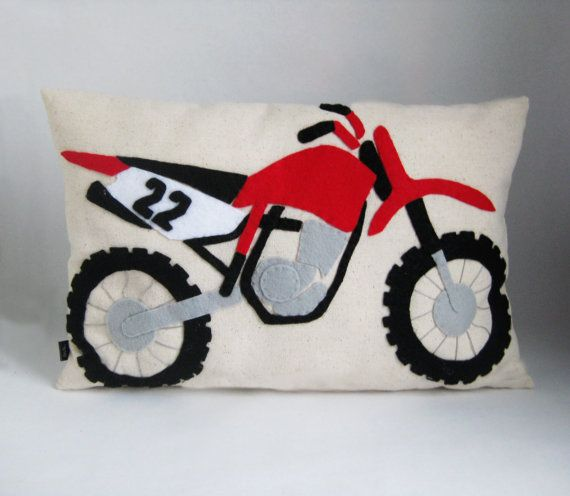 Dirt Bike Pillow  Applique Accent Cushion  Dirt by kmariemarsh
